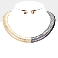 Two Tone Metal Omega Choker Necklace