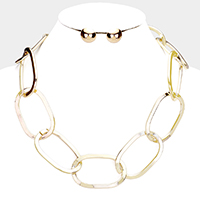 Open Oval Metal Link Necklace