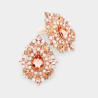 Teardrop Marquise Stone Detail Evening Stud Clip On Earrings