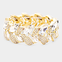 Rhinestone Pave Marquise Stone Leaf Stretch Evening Bracelet