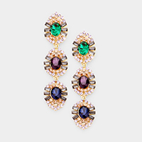 Glass Crystal Stone Accented Link Dangle Evening Earrings