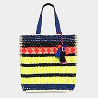 Boho Neon Cotton Thread Detail Pom Pom Tassel Tote Bag