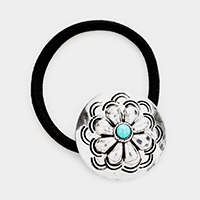 Embossed Metal Flower Natural Stone Stretch Hair Band