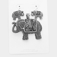 Embossed Metal Elephant Magnetic Pendant Set