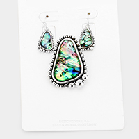 Abalone Bubble Metal Magnetic Pendant Set