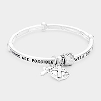 'MATTHEW 19:26' Cross Charm Stretch Bracelet