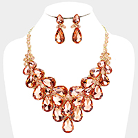 Teardrop Glass Crystal Vine Statement Evening Necklace