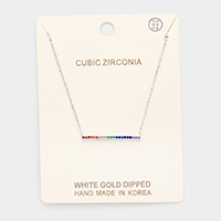 White Gold Dipped Cubic Zirconia Row Pendant Necklace