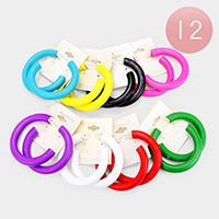 12PCS - Wood Colorful Hoop Earrings