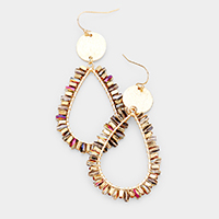 Accented Bead Open Teardrop Dangle Earrings
