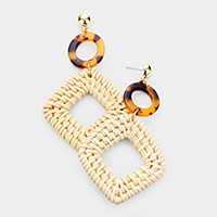 Celluloid Acetate Open Circle Woven Straw Dangle Earrings