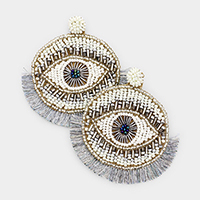 Multi Bead Statement Evil Eye Fan Tassel Earrings
