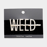 'WEED' Crystal Pave Hair Bobby Pin