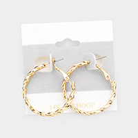 Textured Open Circle Twist Hoop Earrings