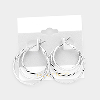 Triple Open Circle Hoop Earrings