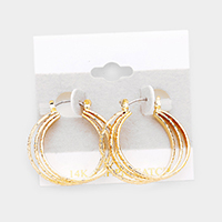 Triple Open Circle Pin Catch Hoop Earrings