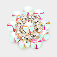 Round Crystal Flower Pin Brooch