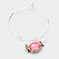 'Mermaids Make Waves' Mermaid Charm Metal Bracelet