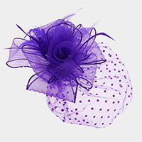 Rose Feather Netting Satin Top Fascinator / Headband