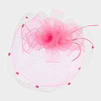 Rose bouquet Feather Netting Satin Top Fascinator / Headband