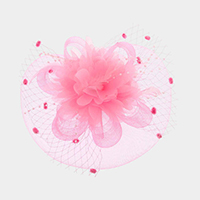 Flower Bead Feather Netting Satin Top Fascinator / Headband