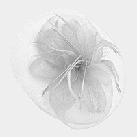 Flower Feather Netting Satin Top Fascinator / Headband