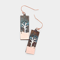 Life of Tree Rectangle Metal Earrings