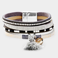 Butterfly Round Stone Tassel Faux Leather Strand Magnetic Bracelet