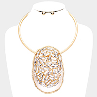 Hammered Open Oval Crystal Statement Choker Necklace