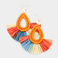 Tassel Trim Teardrop Raffia Fan Tassel Earrings