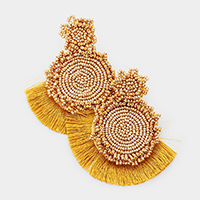Beaded Flower Fan Tassel Earrings