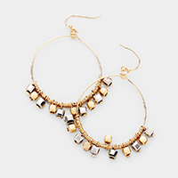Bead Accented Open Circle Dangle Earrings