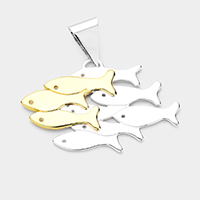 Two Tone Fish Metal Pendant
