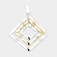 Triple Open Rhombus Metal Pendant