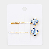 Patterned printed Clover Wood Hair Bobby Pin