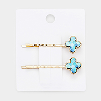 2PCS - Patterned printed Clover Wood Hair Bobby Pins
