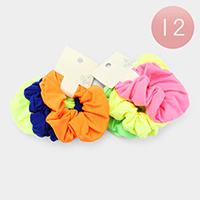 12PCS of 2 - Neon Color Scrunchies Hair Bands