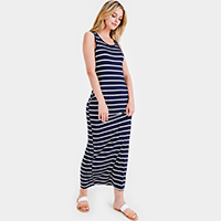 Striped Pattern Bodycon Long Dress