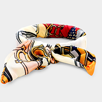 Hinged Striped Belt Pattern Print Bow Bracelet