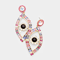 Colorful Stone Evil Eye Statement Earrings