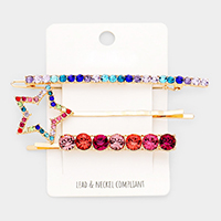 3PCS - Colorful  Stone Star Hair Bobby Pin / Barrette