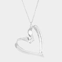 Puffed Heart Metal Pendant Long Necklace