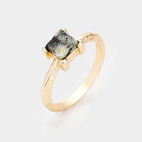 Semi Precious Square Stone Ring