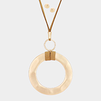 Open Circle Pendant Suade Long Necklace