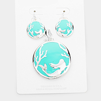Enamel Metal Embossed Mermaid Pendant Pendant Set