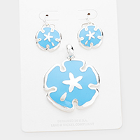 Enamel Metal Embossed Starfish Pendant Pendant Set
