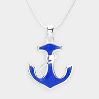 Enamel Metal Embossed Anchor Pendant Necklace
