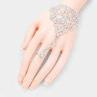 Pave Crystal Rhinestone Hand Chain Evening Bracelet