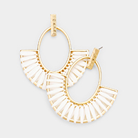 Raffia Statement Gold Metal Trim Semi Circle Earrings