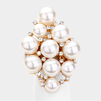 Pearl Rhinestone Statement Stretch Ring